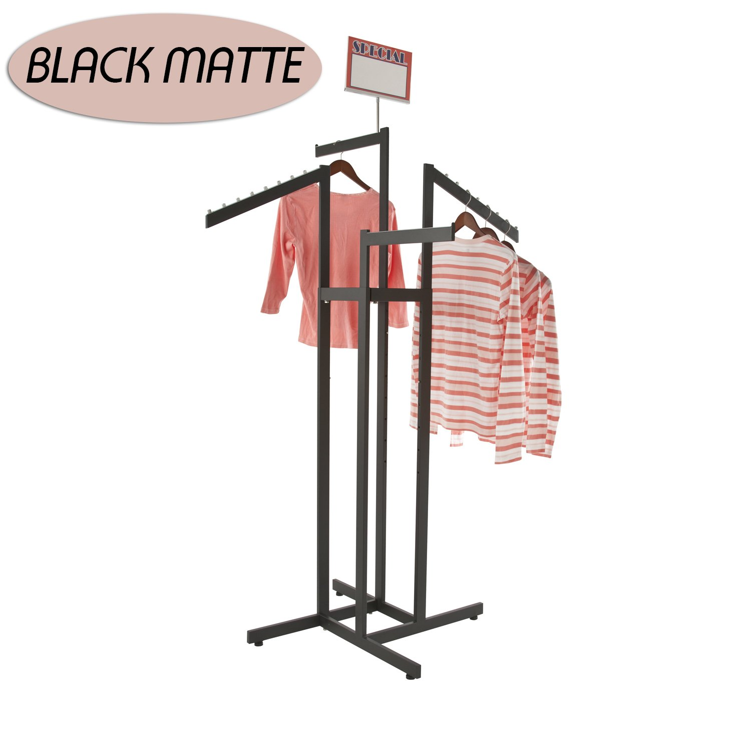 Clothing Rack - Heavy Duty Black 4 Way Rack, Adjustable Arms, Square Tubing, Perfect for Clothing Store Display With 2 Straight Arms and 2 Slanted Arms