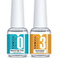 TOMICCA Top & Base Coat and Activator Set Special for Nail Powder Dip System Polish, Fast Drying without UV LED, Shine…