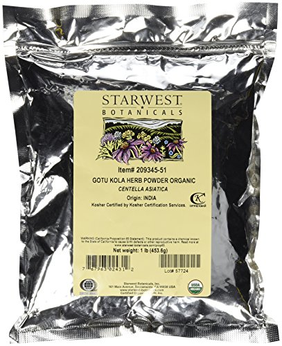 Starwest Botanicals Organic Gotu Kola Herb Powder - Wildcrafted Centella Asiatica, 1 Pound ()