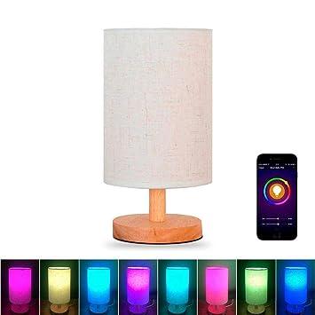 Alexa Wifi Intelligente Bois Chevet Lampe Ampoule Led Intelligente