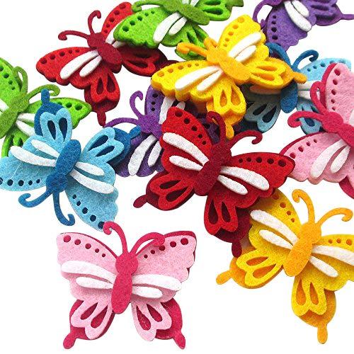 DANDAN DIY Upick 24pcs Padded Felt Colorful Butterfly Appliques Wedding Craft Mix Lots (Multi-Color)