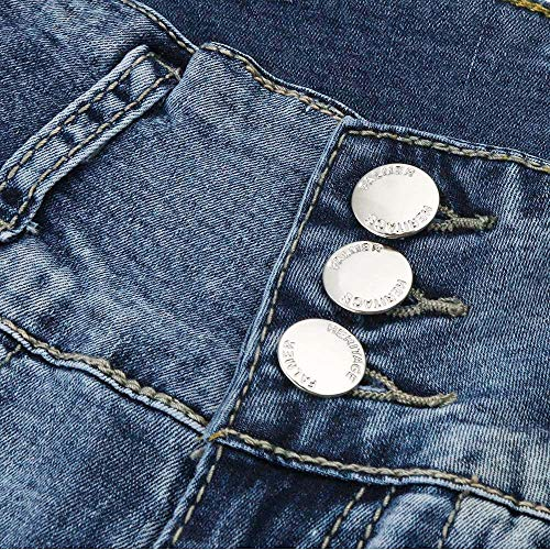 Polpaccio Donna Azzurro Stretch Alta Pantaloni Tinta Unita skinny casual skinny Jeans Lunghezza Sportivi A Vita leggings Slim a meibax Traspiranti Jeans AqqpwxfS
