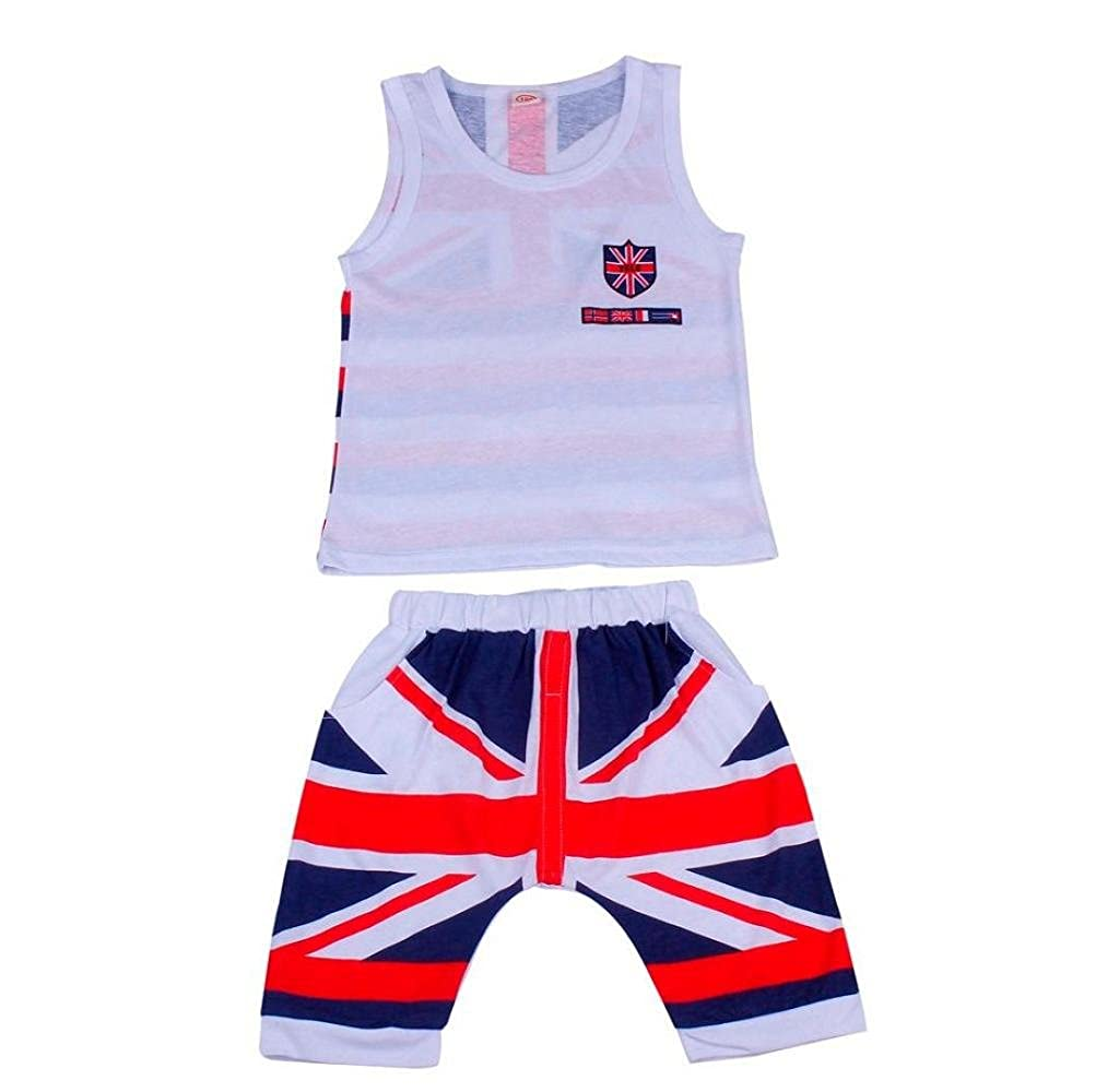 Zerototens Children Clothing Set,Boys Summer Outfit Clothes Sleeveless Union Flag Vest and Short Pants 2Pcs Toddler Kids Sportwear Casual Outfit Suit
