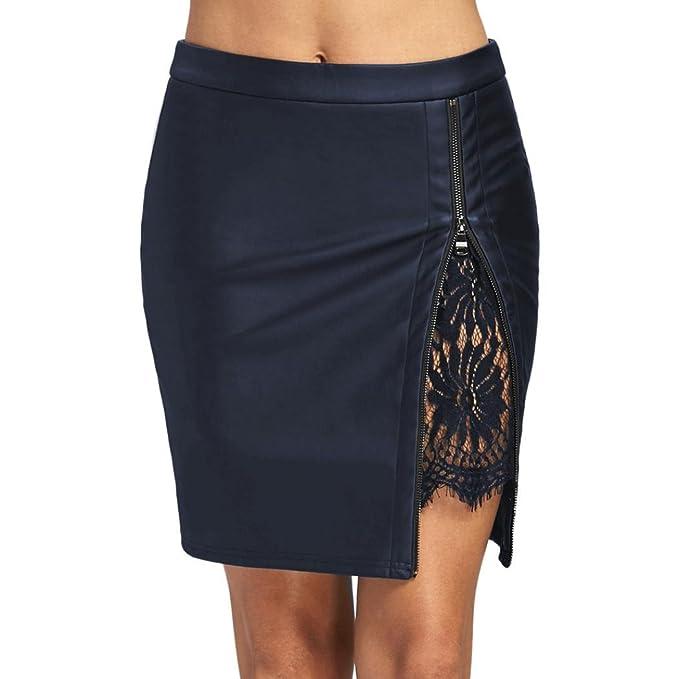 LHWY-Falda Falda De Cuero con Cremallera Oficina Mujer Elegante con Encaje  Color SóLido Falda 4cdf29e13612
