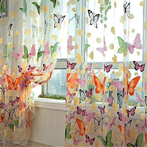 ShungHO Room Divider Butterfly Flower Sheer Curtain Panel Window Balcony Tulle
