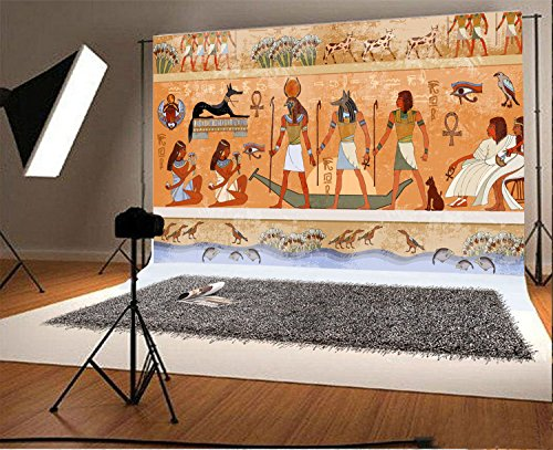 Laeacco 7x5FT Vinyl Backdrop Photography Background Ancient Egypt Mythology Egyptian Gods and Pharaohs Hieroglyphic Carvings Wall Ancient Temple Background Murals Adult Photo Portrait Shoot Prop -