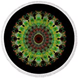 Pixels Round Beach Towel With Tassels featuring ''Heart Aura - Mandala Art By Sharon Cummings'' by Sharon Cummings