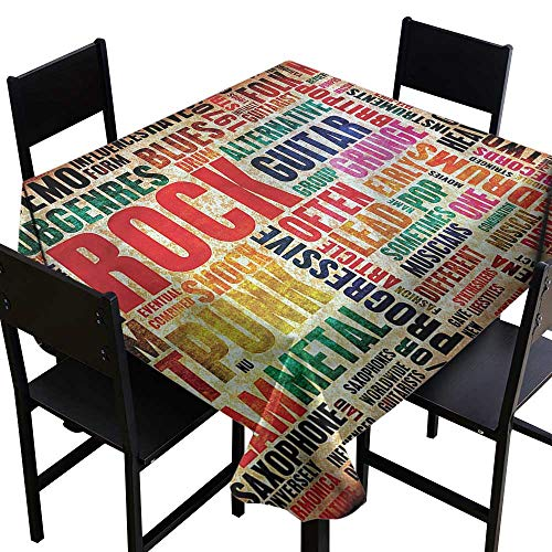 (Waterproof tablecloths Music,Music Rock n Roll Poster,W36 x L36 for Cards)