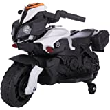 JAXPETY Kids Ride On Motorcycle 6V Toy Battery Powered Electric 4 Wheel Power Bicyle New (Black & White)