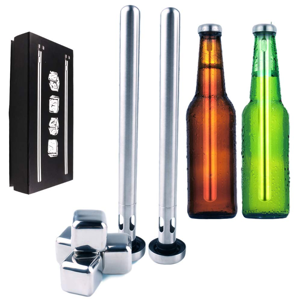 Beer Chillers Sticks Set of 2 W/Stainless Steel Ice Cubes Square 4 Pieces Refreezable Reusable - Bottles Cup Can Glass - Whiskey Cocktail Burban - Gift Set Man Woman 304 Metal BPA Free & eBook by E2F