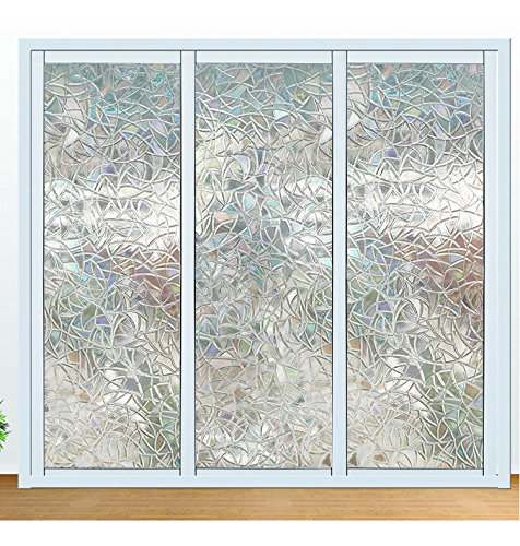 Window Film 3D Decorative No Glue, Reflective Window Decor Glass Door Film Privacy Protection Heat Control Anti UV,Stained Glass Static Cling for Kitchen Bedroom(17.7''x78.7'')