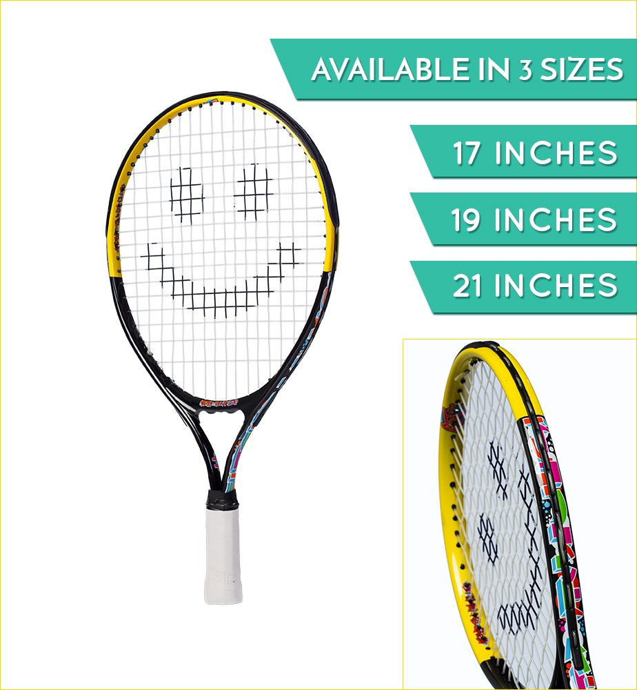 Street Tennis Club Tennis Rackets for Kids, 19-Inch, Black/Yellow