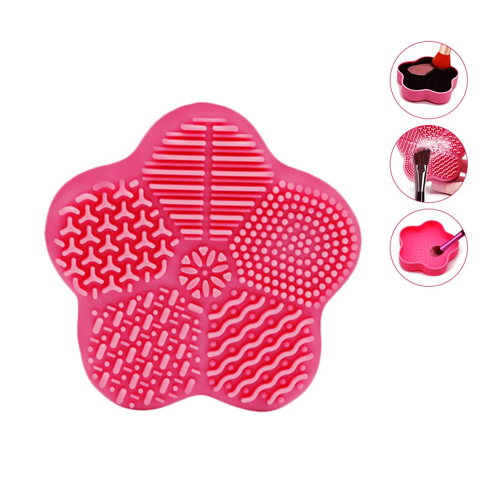 Omio Makeup Brush Cleaner Beauty Blender Cosmetics Cleaning Supplies Scrubber Washing Silicone Mat Eye Makeup Facial Make Up Brushes for Cleaning Face Makeup Cleaning Tools Clean Sponge Pink Stuff