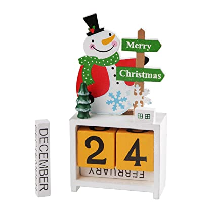 Cooliya Wooden Advent Calendar, Premium Christmas Decor Wood Construction  for Christmas Decorations Party Favors (White)