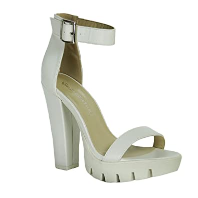 ec8f60413100 Perfect Me Ladies High Block Heel Buckle Cuff Strappy Sandals Cleated Sole  Chunky Platform  Amazon.co.uk  Shoes   Bags