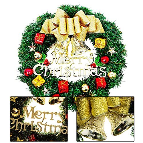 Christmas Wreath Christmas Decorations Garlands Wall Decorations Door Hang Garland Artificial Decorated Christmas door decorations Wreath Gold 24 inch (For Wreaths Decorations)