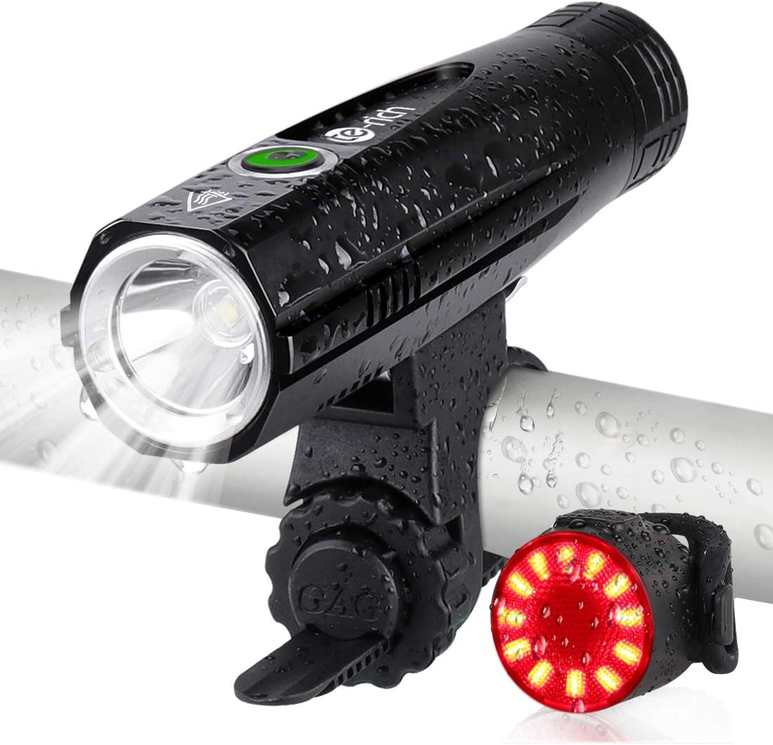 Ultra Bright Bike Lights Rechargeable – Te-Rich 800 Lumens Headlight and Taillight Set, LED Bicycle Lights Front and Back, Quick Release Safety Lamp Cycling Accessories for Road Mountain City Bikes