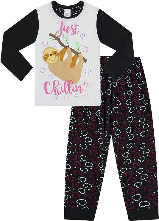 The PyjamaFactory M/ädchen Faultier Chillin M/ädchen Pyjama lang Baumwolle Pyjama 9-16 Jahre