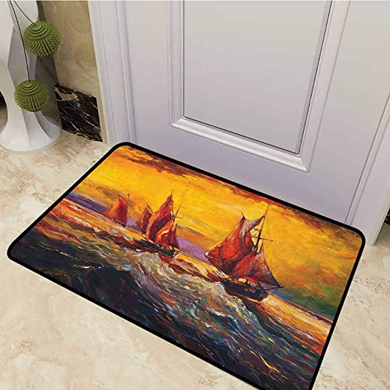 DESPKON Doormat Image of Old Sailboats Ships Cruising in Waves at Sunrise Time Dark Sky Art Inside Door Mats Heavy Duty