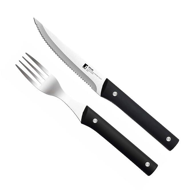 Masterpro PK1181 Set cubertería 24 Piezas Tenedores y Cuchillos, Negro: Amazon.es: Hogar
