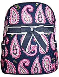 LU Paisley Flower Girls Quilted Bow School Backpack Blue Pink