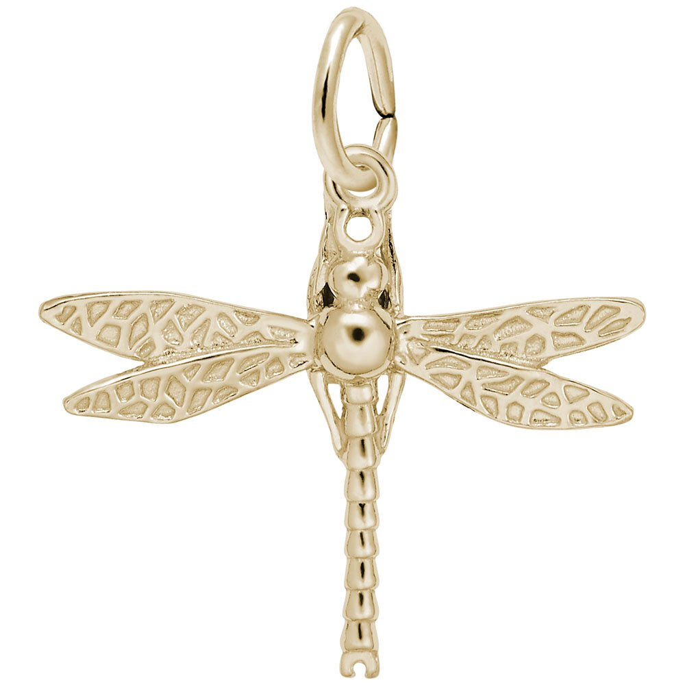 Dragonfly Charm In 14k Yellow Gold, Charms for Bracelets and Necklaces
