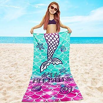 Hang Ten Brand Shades of Blue White Stripe /& Floral Cotton Beach Towel 36 x 68