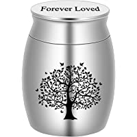 BGAFLOVE Small Mini Cremation Keepsake Urn for Human Ashes Stainless Steel Life Tree Memorial Ashes Holder-Forever Loved