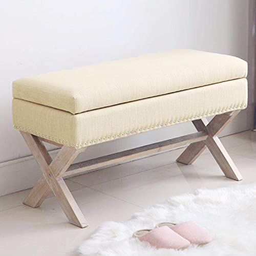 Fabric Storage Bedroom Bench Seat for End of Bed, Upholstered 36 inch Entryway Bench with X-Shaped Wood Legs for Living Room or Hallway, Beige