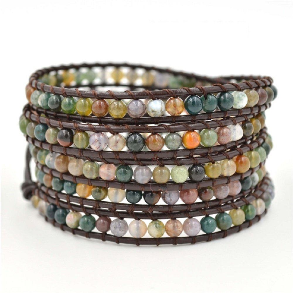 changgaijewelry Genuine Leather India Agate Bracelet Bangle Cuff Rhinestone Crystal Bead 3 & 5 Wrap Adjustable (5 wrap India Agate)