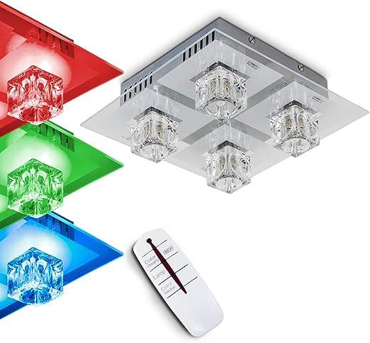 RGB LED Decken Lampe Wohnraum Kronleuchter Luster Kristalle Farbwechsler DIMMBAR