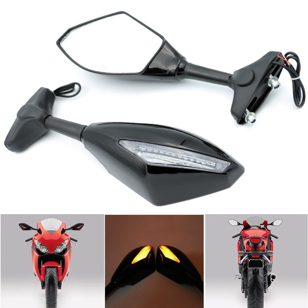 Alpha Rider Motorcycle Turn Signal LED Blinker Integrated Sports Racing Mirrors Rearview Side Mirror SUZUKI GSXR 600//750 2001-2005 2009-2012 GSXR 1000 2001-2005 2009-2012