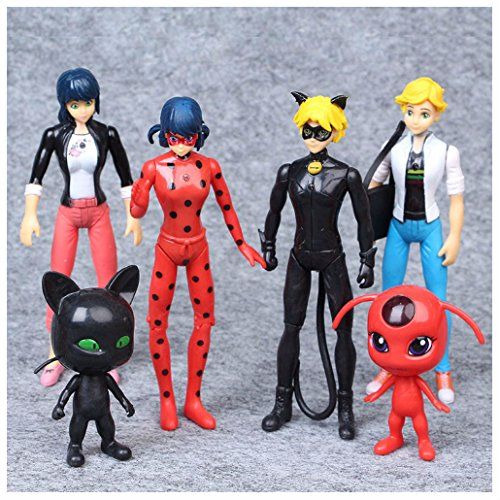 6Pcs Miraculous Ladybug Action Figure Tikki Noir Cat Plagg Adrien Toy Set (Ladybug Cat Toy)