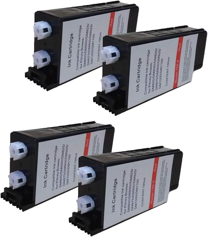 767-8, 7668, 7678 Replacement for Pitney Bowes 766-8 Red Postage Ink for Use in: DM1000//DM800//DM800i//DM825//DM875//DM900//DM925 4-Pack KLDink
