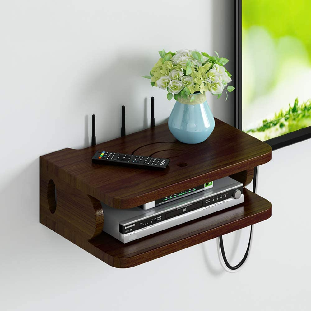 Floating TV Stand Wall Mounted Entertainment Center Media Console Wood Storage Shelf with Cable Management Slot,TV Console Asymmetrical TV Cabinet TV Table Media Storage Organizer for Space Saving
