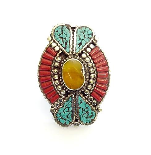 India Jewel Store Anillo de Coral y ámbar | Anillo Chapado ...