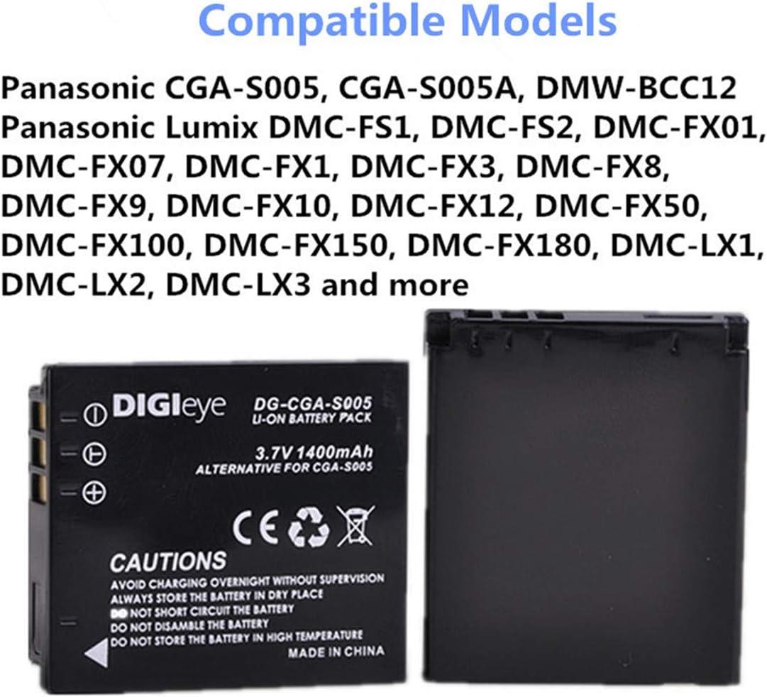 FX8 FX3 FX01 FX07 Baterìa+Cargador CGA-S005E para Panasonic Lumix DMC-FS2