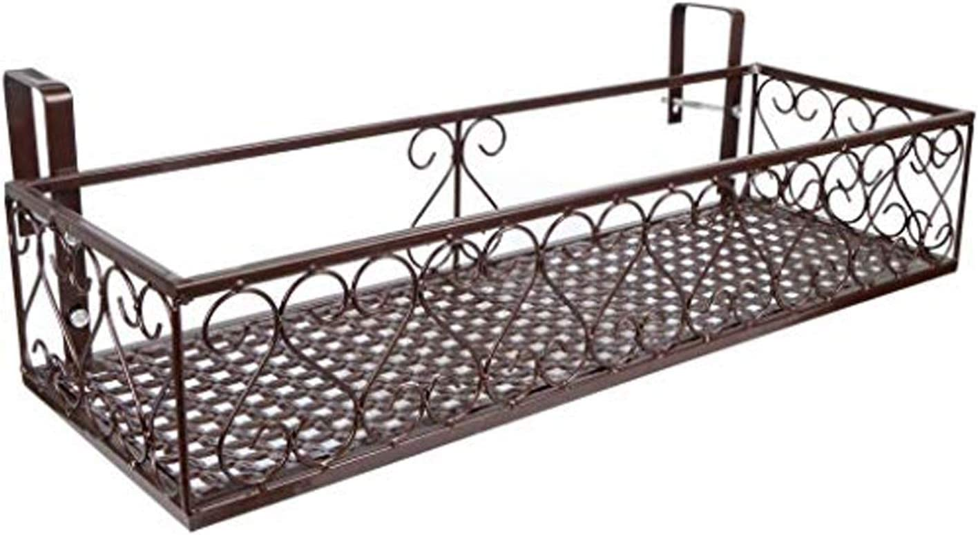 Saim Hanging Balcony Flower Pot Brackets Holder 23.4 Inches Box Stand Rack Railing Shelf Patio Deck Plant Planter Container Accessories (Bronze)