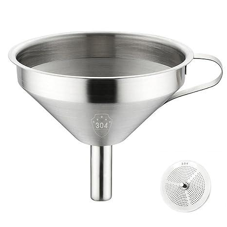 jiele cocina embudo – -mango cocina embudo con colador desmontable y de acero inoxidable para cocinar aceites, Transferencia de líquido, líquido, ...