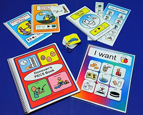 Deluxe Visual Aid Starter Set - My First PECS Book - PECS Choice Board - 100 Pre-cut PECS with velcro - 2 Social Stories - Bathroom Schedules - Transitional Keyring by The Autism Whisperer
