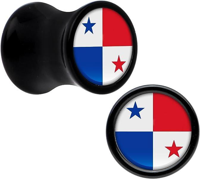 Cuerpo Caramelo Acrílico Negro Bandera del Panama Dilatación Ancho Par 7mm