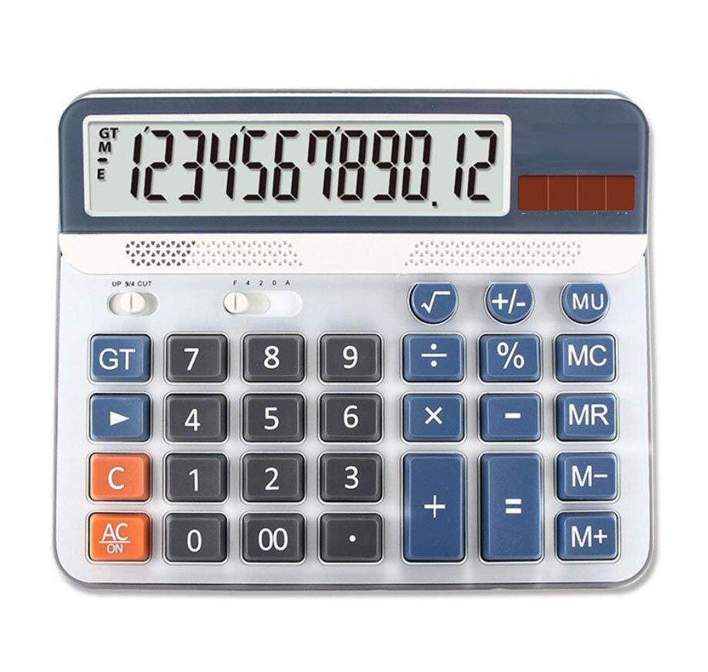 Calculadora Calculadora de de Calculadora escritorio Pantalla de 12 dígitos Pantalla grande Pantalla solar Calculadora de doble energía Banco de la oficina Calculadora especial financiera (blanco) b4e7c4