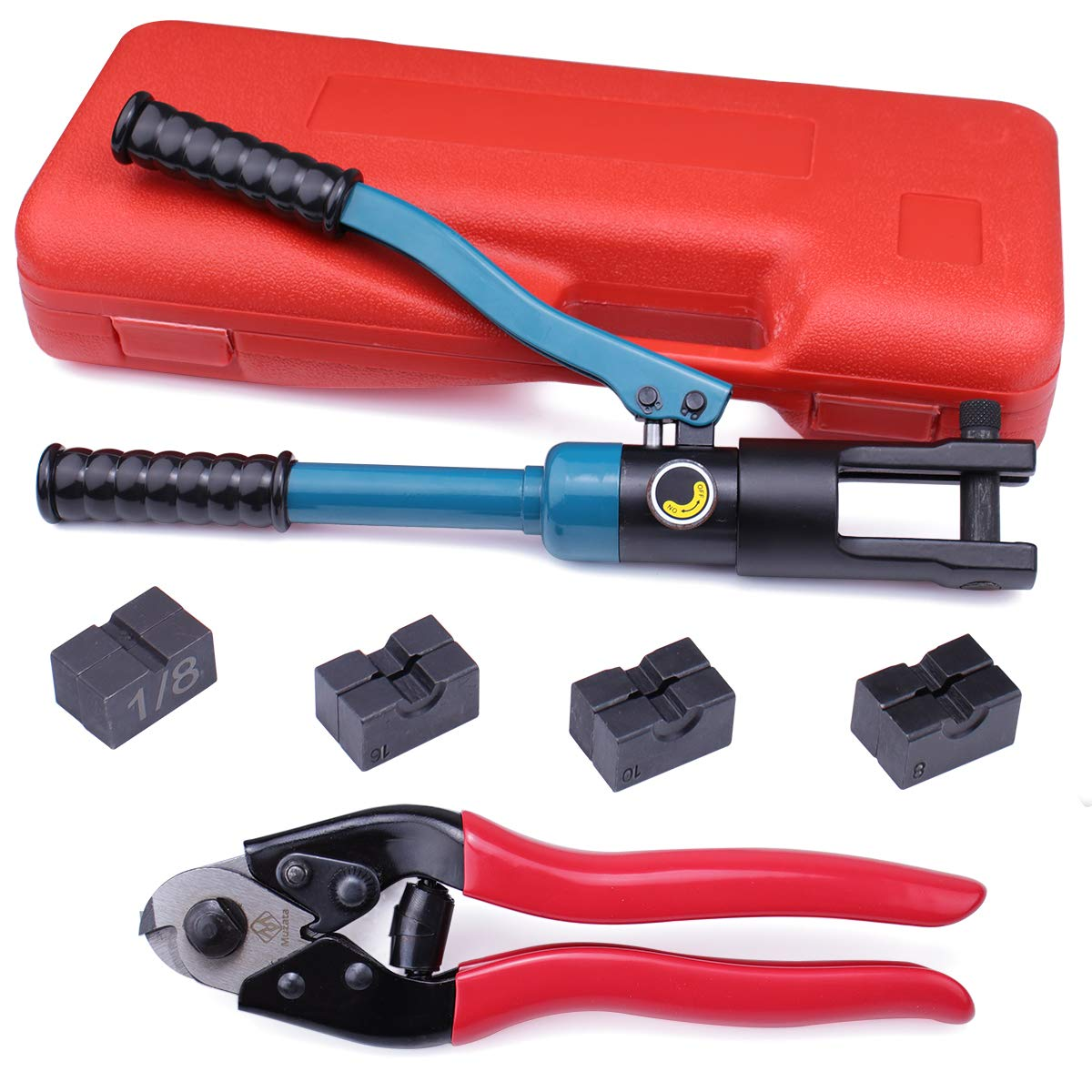 Muzata Custom Hydraulic Hand Crimper Tool for 1/8'' Stainless Steel Cable Railing Kit System Fittings- Wire Rope Swaging,2019 Upgrade Version Crimping-60 Ton with Cutter by Muzata