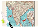 KESS InHouse CH1052ACB01 Catherine Holcombe ''Travel To India'' Teal Red Cutting Board, 11.5 x 8.25'', Multicolor