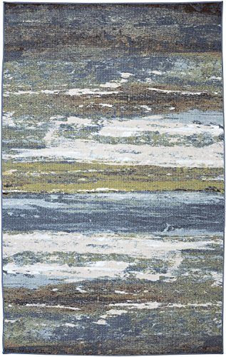 Mohawk Home Escape Abstract Shore Blue Spa Rug, 8'x10'- Family Room Ideas - Make quick & easy changes to any room in your home in minutes by changing the rug - add color & patterns