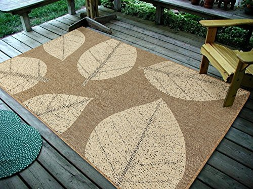 Beige Leaves - Furnish my Place Design 0583 Dark NAUTRAL 4'5 X7' Big Leaves, Indoor & Outdoor Area Rug-0583, 4'5
