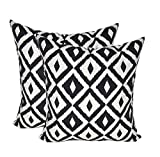 Resort Spa Home Decor Set of 2 - Indoor/Outdoor Square Decorative Throw/Toss Pillows - Black and White Aztec Geometric - Choose Size (17'')