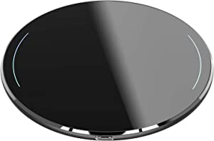 TOZO Wireless Charger Ultra Thin Aviation Aluminum Fast Charging Pad for iPhone 11/11 Pro/11 Pro Max/XS MAX/XR/XS/X/8, Galaxy S10/S10 Plus/S10E/Note 10/Note 10 Plus/9/8 [Black] - NO AC Adapter
