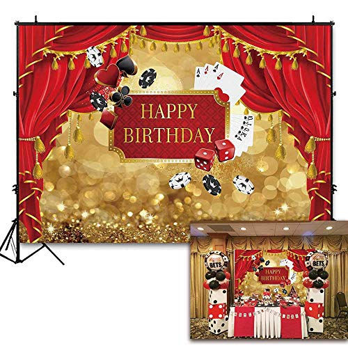 Funnytree 7x5ft Las Vegas Themed Birthday Backdrop Royal Casino Golden Bokeh Glitter Photography Background Red Curtain Poker Party Decorations Photo Booth Cake Table Banner]()
