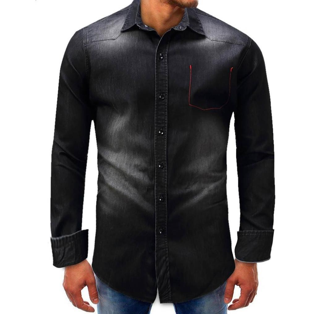 VIASA_ Men Denim Fashion Casual Long-Sleeve Beefy Button Basic Solid Blouse Tee Shirt Top (M, Black)